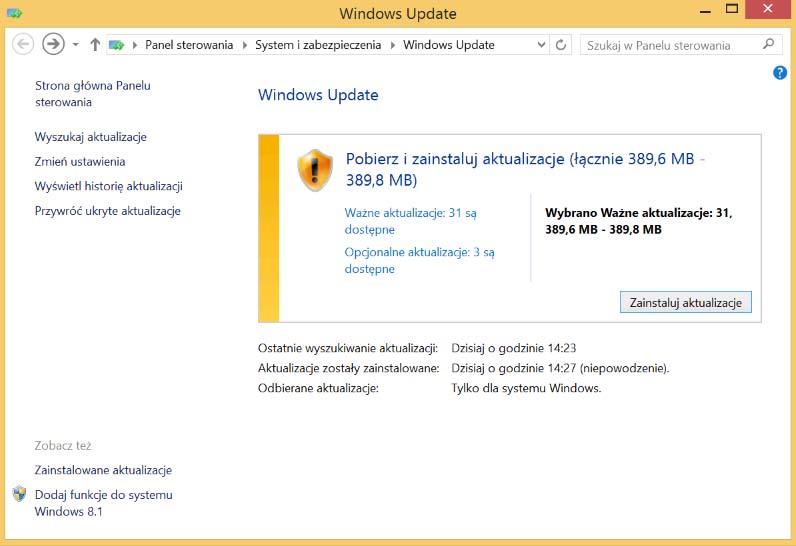 aktualizacje windows
