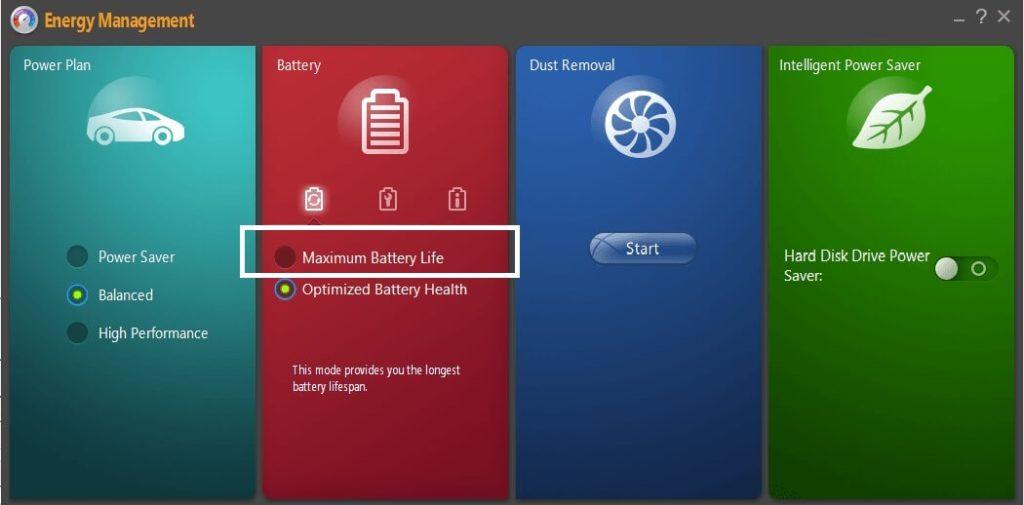 Lenovo Energy Managment - ustawienia ładowania baterii