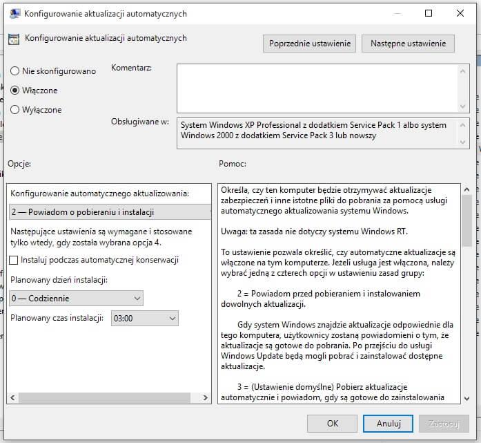 konfigurowanie aktualizacji automatycznych - screen